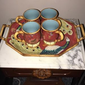 Party/serving tray with matching mugs
